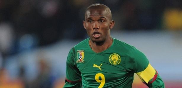 O atacante Samuel Eto'o marcou os dois gols na vitória de Camarões sobre Togo