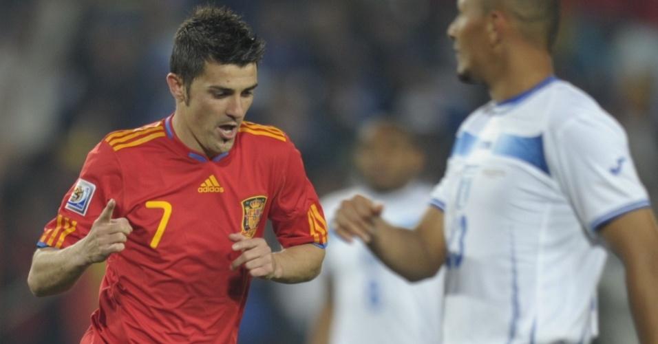 David Villa comemora o segundo gol da Espanha sobre Honduras