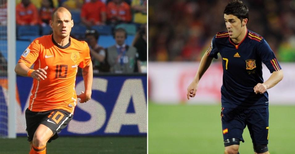 Montagem - Wesley Sneijder e David Villa, finalistas da Copa do Mundo-2010
