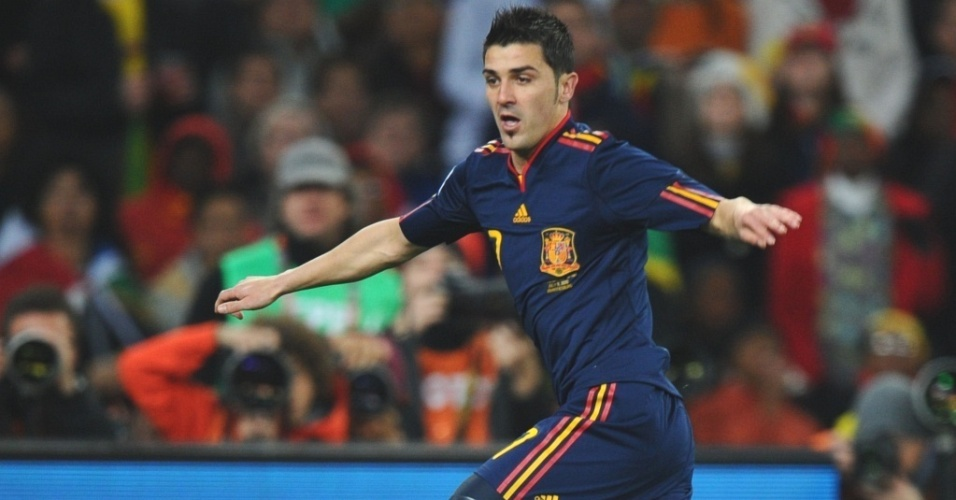 David Villa tenta jogada na final da Copa do Mundo entre Espanha e Holanda