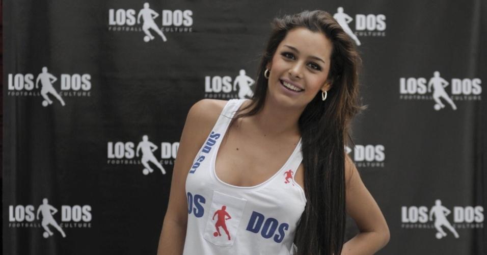 Larissa Riquelme em evento promocional em São Paulo