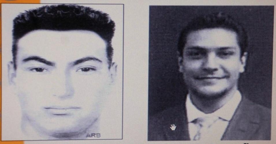 Foto e retrato falado de Jose Jorge Balderas Garza, suspeito de atirar em Salvador Cabañas, alvejado na cabeça no México