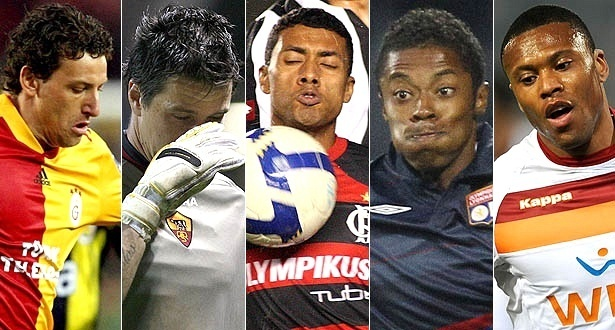 Elano, Doni, Kleberson, Michel Bastos e Julio Baptista, os brasileiros em baixa na lista da Copa