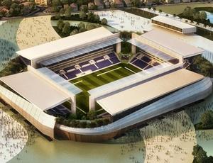 Maquete do estádio Verdão, em Cuiabá, que será sede da Copa-2014, mas segue com obras lentas