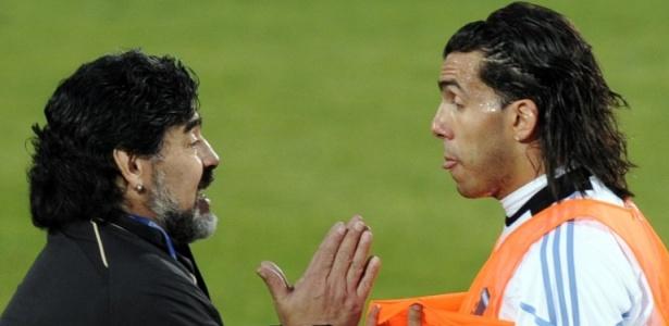 Maradona foi técnico de Tevez na seleção da Argentina