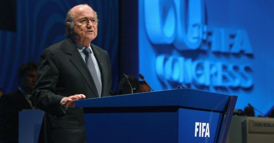 Joseph S. Blatter durante congresso da Fifa na África do Sul
