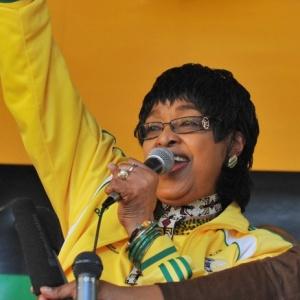 Winnie Madikizela-Mandela em evento antes da Copa do Mundo de 2010 - Alexander Joe / AFP