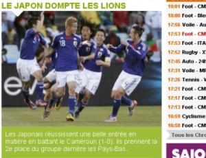 O tom de surpresa dominou as manchetes dos jornais pelo mundo após a vitória por 1 a 0 do Japão sobre Camarões, na estreia das duas seleções na Copa do Mundo. Com o atacante Samuel Eto'o apagado no jogo, os africanos não causaram uma boa impressão.