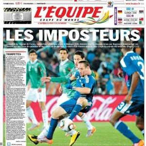 Capa do jornal L'Equipe após derrota da França para o México
