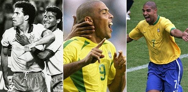 Careca, Ronaldo e Adriano celebram gols nas Copas