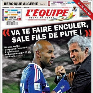 Jornal L'Équipe estampou palavrões usados por Anelka para xingar o técnico Domenech
