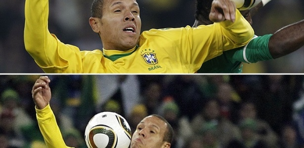 Montagem mostra os dois toques de mão dados por Luís Fabiano na bola no lance de seu segundo gol contra a Costa do Marfim