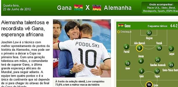 Abre do jogo entre Gana x Alemanha