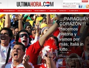 Reprodução do jornal Ultima Hora, do Paraguai, após a classificação do país às oitavas de final