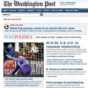 Reprodução da capa do Washington Post após a vitória de Gana sobre os EUA na prorrogação