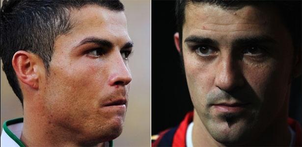 Cristiano Ronaldo e David Villa, estrelas de Portugal x Espanha