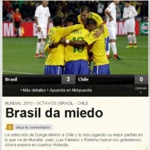 Diário esportivo As mostra o respeito que o Brasil impôs ao vencer o Chile: Brasil dá medo