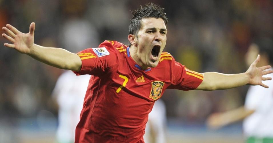 David Villa comemora o gol da Espanha contra Portugal nas oitavas de final