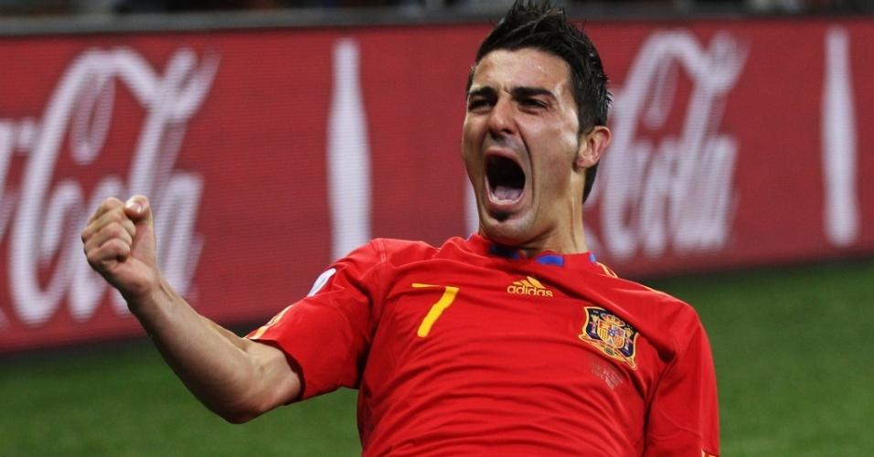 David Villa comemora o gol da vitória da Espanha contra Portugal