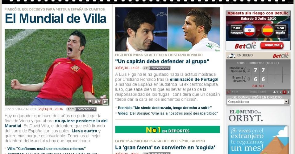 Reprodução da capa do jornal Marca, exaltando o atacante David Villa