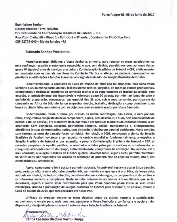 Carta oficial de Dunga a CBF