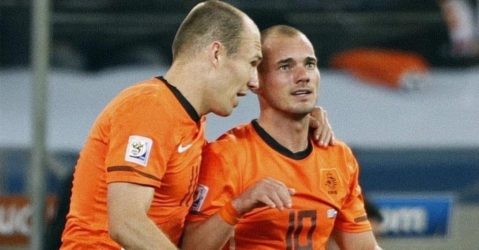 Robben e Sneijder comemoram gol da Holanda contra o Uruguai