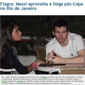 Messi foi flagrado ao lado da namorada na Barra da Tijuca pelo jornal carioca <i>O Dia</i>