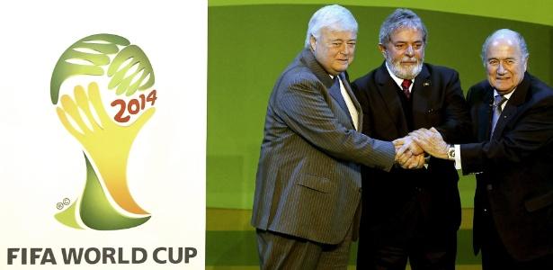 Ricardo Teixeira (ex-presidente da CBF), Lula e Blatter (presidente da Fifa) em evento de 2010