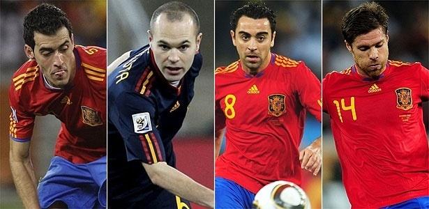 Busquets, Iniesta, Xavi e Xabi Alonso, que formam o meio-campo espanhol