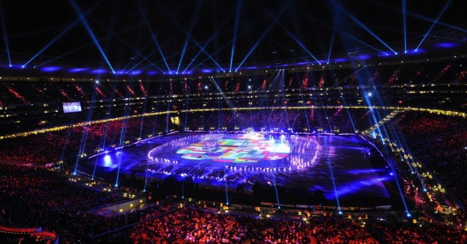 Imagem do Soccer City durante a cerimônia de encerramento da Copa